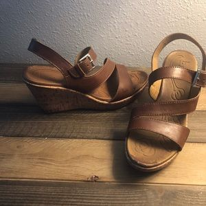 B.O.C. Born Concept Brown Wedge Sandals Size 9